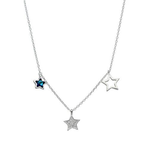 Collar Estrellas Circones Cristal Azul