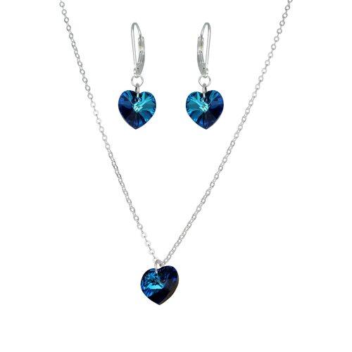 Set Collar y Aro Corazón Hecho con Cristal Swarovski® Azul