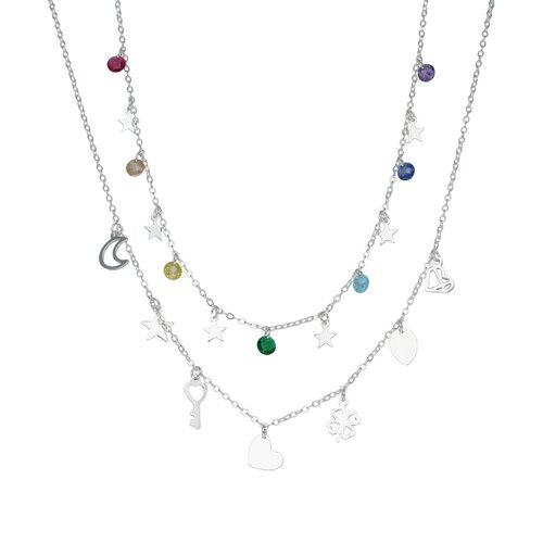 Collar Suerte Cristales Hecho con Swarovski® Multicolor