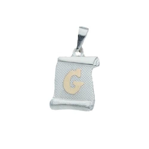 Colgante Pergamino, Letra G en Oro