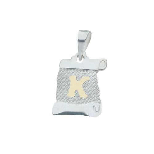 Colgante Pergamino, Letra K en Oro