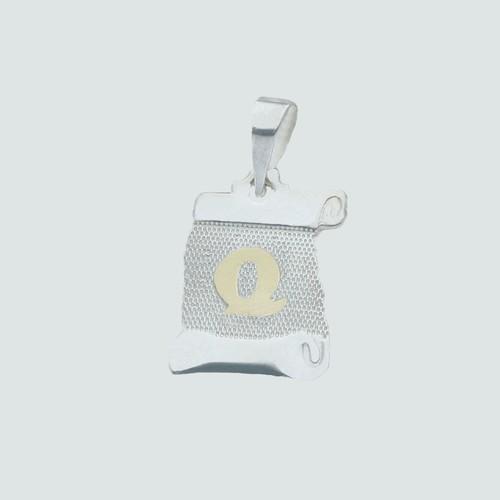 Colgante Pergamino, Letra Q en Oro