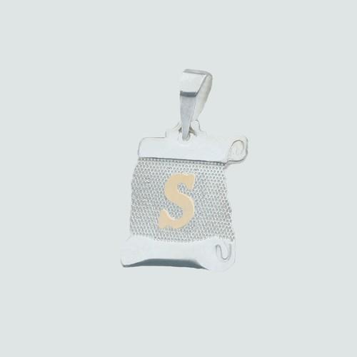 Colgante Pergamino, Letra S en Oro