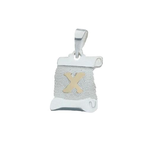 Colgante Pergamino, Letra X en Oro