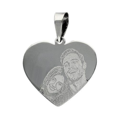 Colgante Corazón Grande con Fotograbado 25x28 mm