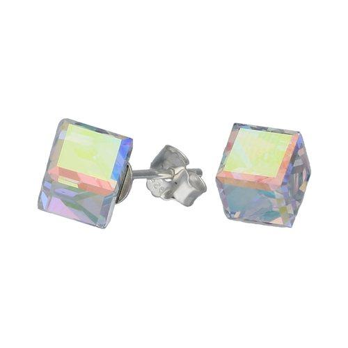 Aro Cubo Hecho con Cristal Swarovski® Tornasol 6x6 mm
